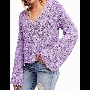 Free People Sand Dune Sweater Purple Flare Sleeve